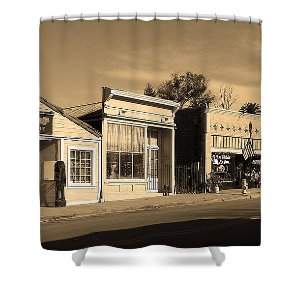 Historic Niles District in California Near Fremont . Main Street . Niles Boulevard . 7D10676 . sepia Shower Curtain by Wingsdomain Art and Photography