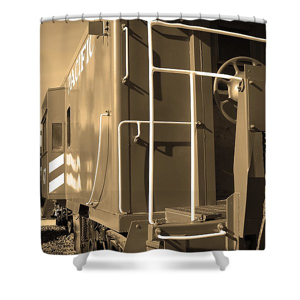 Historic Niles District In California Near Fremont . Western Pacific Caboose Train . 7d10622 . Sepia Shower Curtain by Wingsdomain Art and Photography
