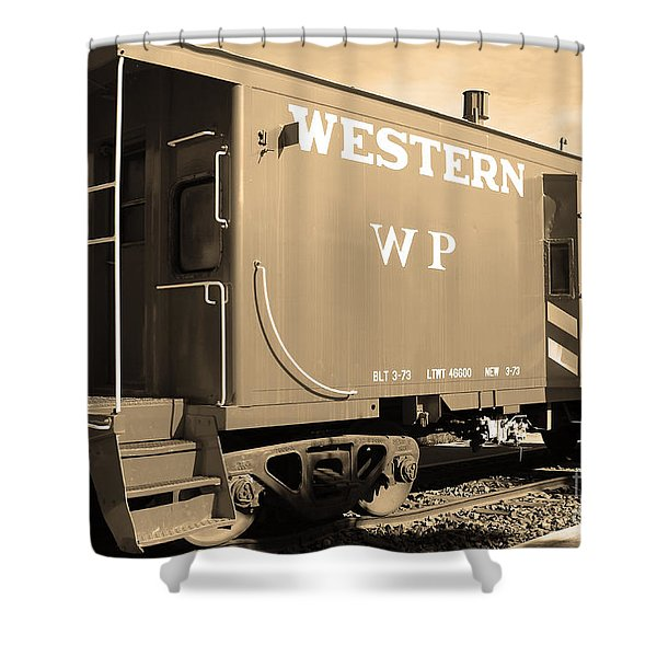 Historic Niles District in California Near Fremont . Western Pacific Caboose Train . 7D10627 . sepia Shower Curtain by Wingsdomain Art and Photography