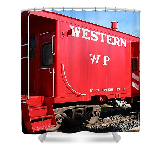 Historic Niles District in California Near Fremont . Western Pacific Caboose Train . 7D10627 Shower Curtain by Wingsdomain Art and Photography