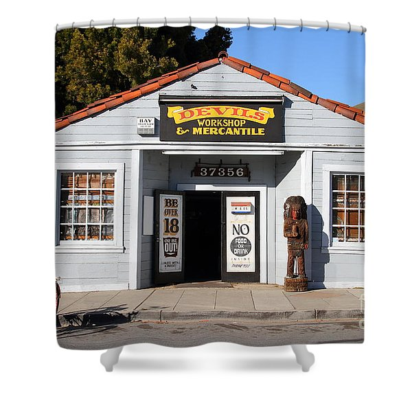 Historic Niles District In California.motorized Bike Outside Devils Workshop And Mercantile.7d12727 Shower Curtain by Wingsdomain Art and Photography
