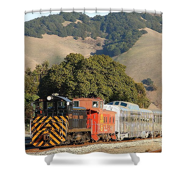 Historic Niles Trains in California . Old Southern Pacific Locomotive and Sante Fe Caboose . 7D10818 Shower Curtain by Wingsdomain Art and Photography