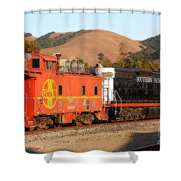 Historic Niles Trains in California . Old Southern Pacific Locomotive and Sante Fe Caboose . 7D10843 Shower Curtain by Wingsdomain Art and Photography