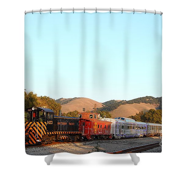 Historic Niles Trains In California . Old Southern Pacific Locomotive And Sante Fe Caboose . 7d10869 Shower Curtain by Wingsdomain Art and Photography