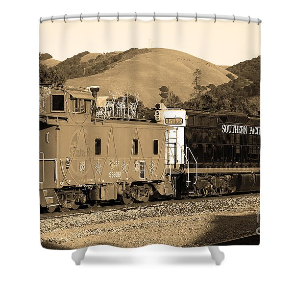 Historic Niles Trains In California.southern Pacific Locomotive And Sante Fe Caboose.7d10843.sepia Shower Curtain by Wingsdomain Art and Photography