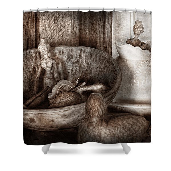 Hobby - Wood Carving - Wooden toys Shower Curtain by Mike Savad