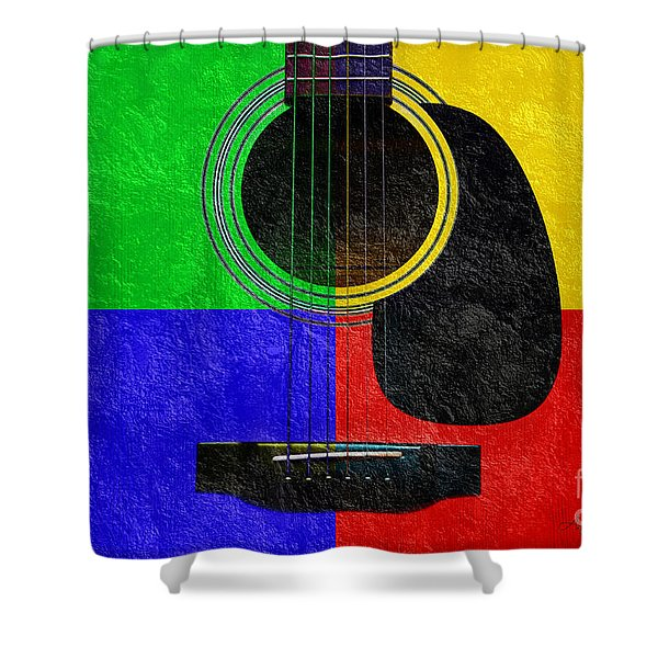 Hour Glass Guitar 4 Colors 1 Shower Curtain by Andee Design