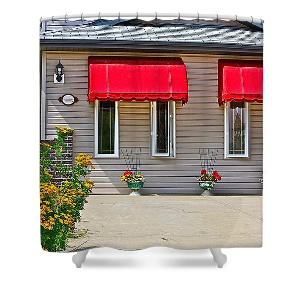 House with red shades. Shower Curtain by Johanna Bruwer