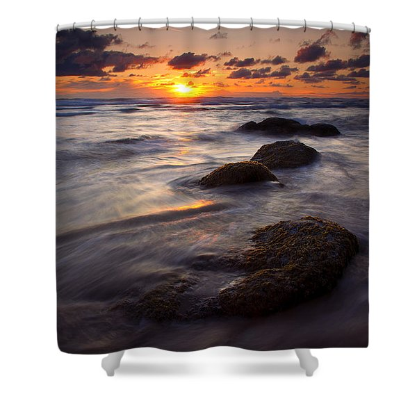 Hug Point Tides Shower Curtain by Mike  Dawson