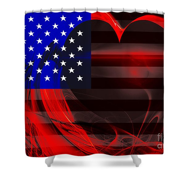 I Love America Shower Curtain by Wingsdomain Art and Photography