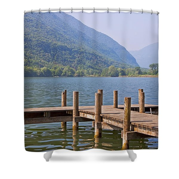 idyllic tarn in Italy Shower Curtain by Joana Kruse