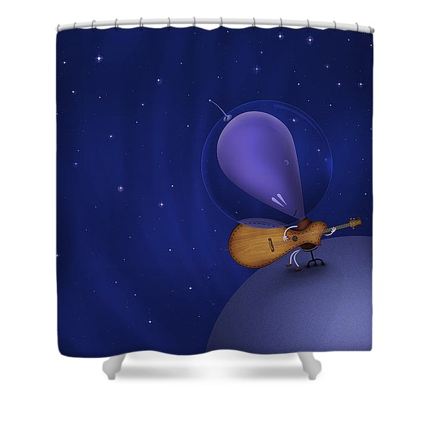 Illustration Of A Martian Playing Shower Curtain by Vlad Gerasimov