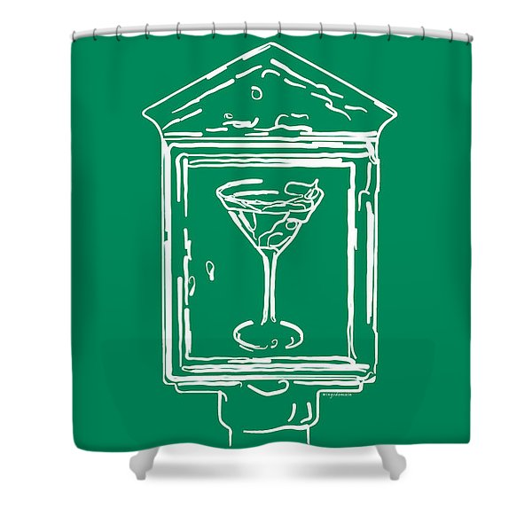 In Case Of Emergency - Drink Martini - Green Shower Curtain by Wingsdomain Art and Photography