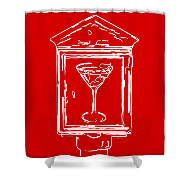 In Case Of Emergency - Drink Martini - Red Shower Curtain by Wingsdomain Art and Photography