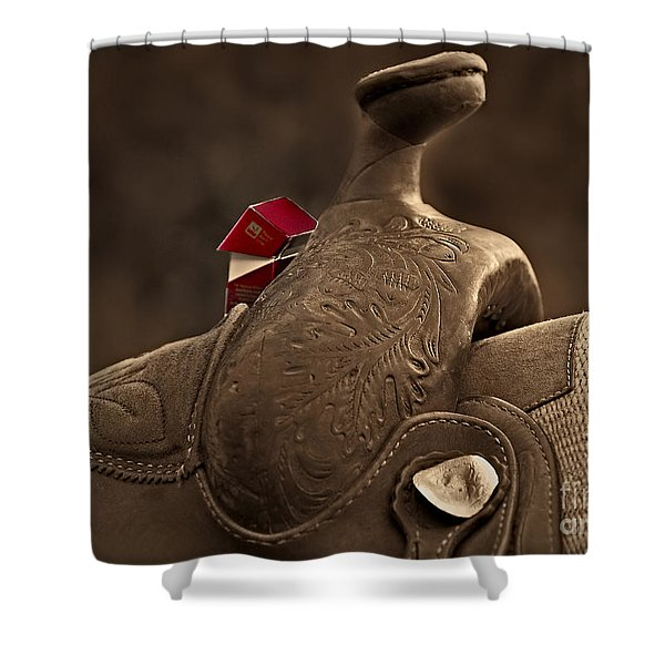 In The Saddle Shower Curtain by Susan Candelario