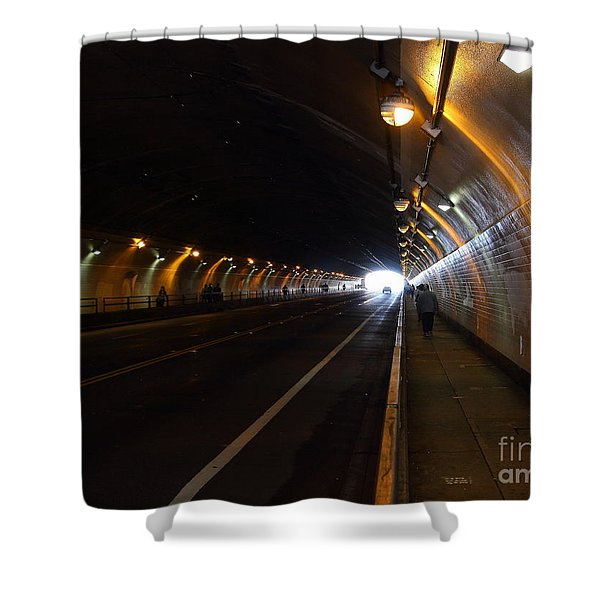 Inside The Stockton Street Tunnel in San Francisco . 7D7363.3 Shower Curtain by Wingsdomain Art and Photography