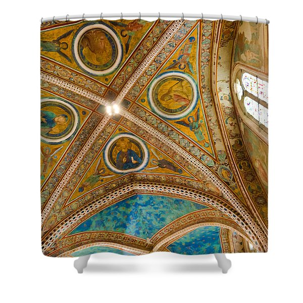 Interior St Francis Basilica Assisi Italy Shower Curtain by Jon Berghoff