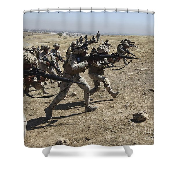 Iraqi Army Soldiers Move To Positions Shower Curtain by Stocktrek Images