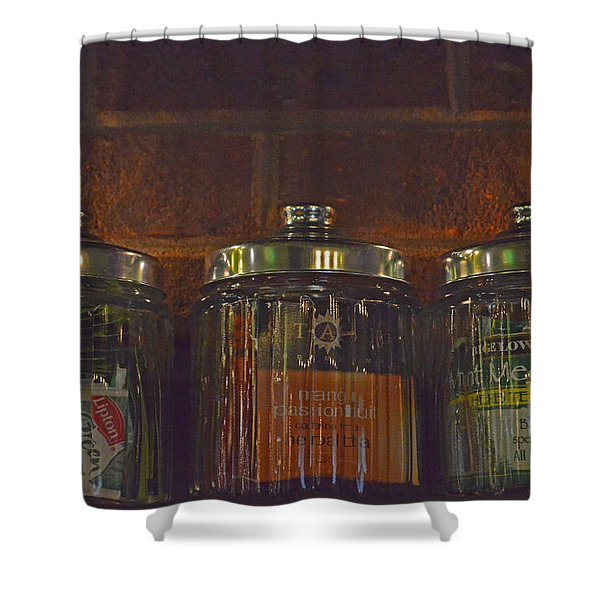 Jars Of Assorted Teas Shower Curtain by Sandi OReilly