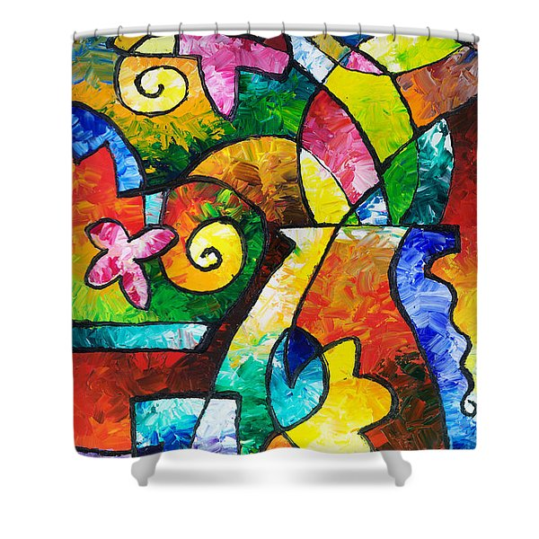 July Blooms Shower Curtain by Sally Trace