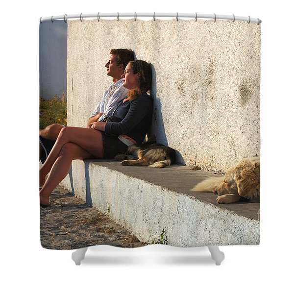 Kicking Back In Greece Shower Curtain by Bob Christopher