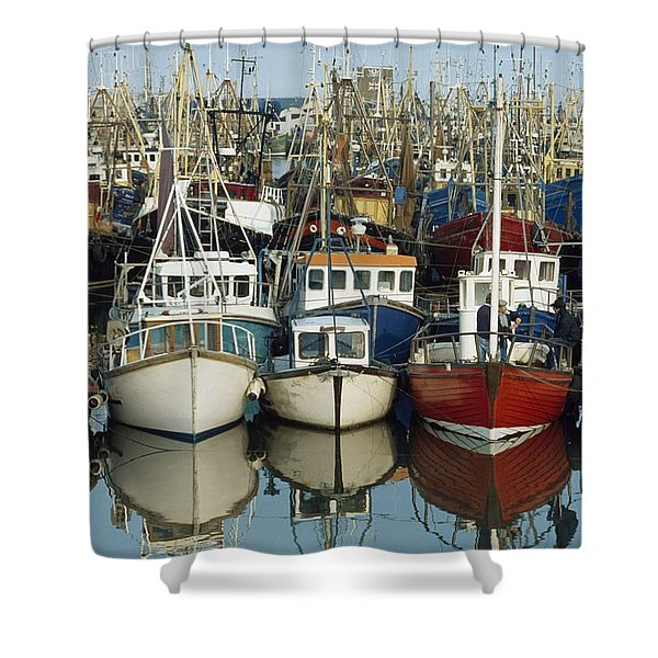 Kilkeel, Co Down, Ireland Rows Of Boats Shower Curtain by The Irish Image Collection