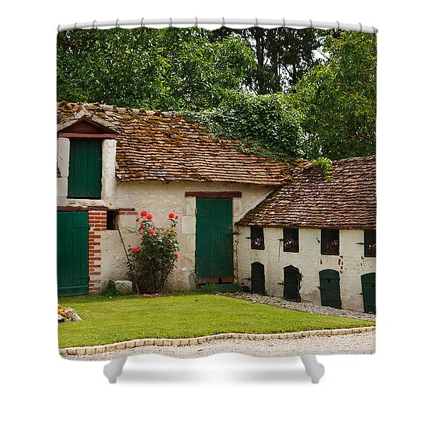 La Pillebourdiere old farm outbuildings in the Loire Valley Shower Curtain by Louise Heusinkveld