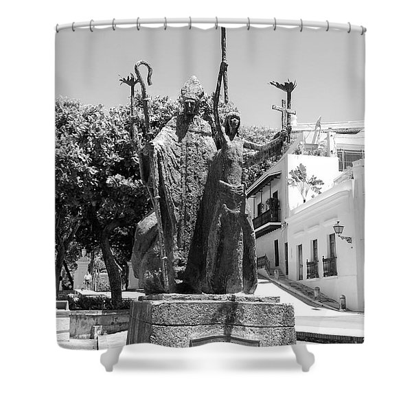 La Rogativa Sculpture Old San Juan Puerto Rico Black and White Shower Curtain by Shawn O'Brien
