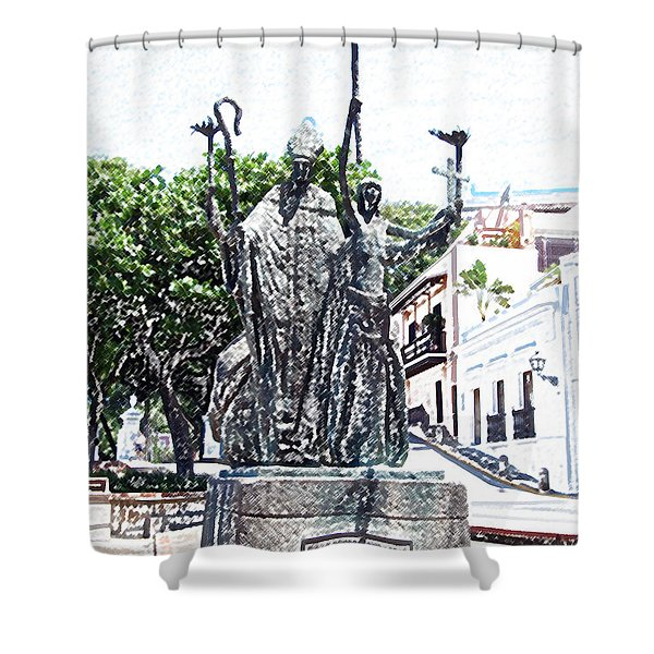 La Rogativa Sculpture Old San Juan Puerto Rico Colored Pencil Shower Curtain by Shawn O'Brien