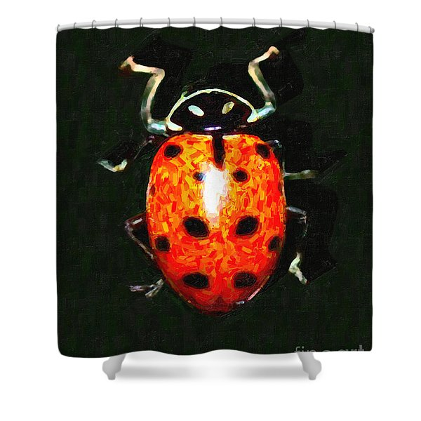 Ladybug Shower Curtain by Wingsdomain Art and Photography