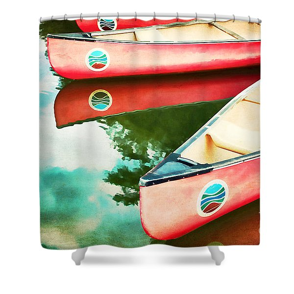Lake Reflections Shower Curtain by Darren Fisher
