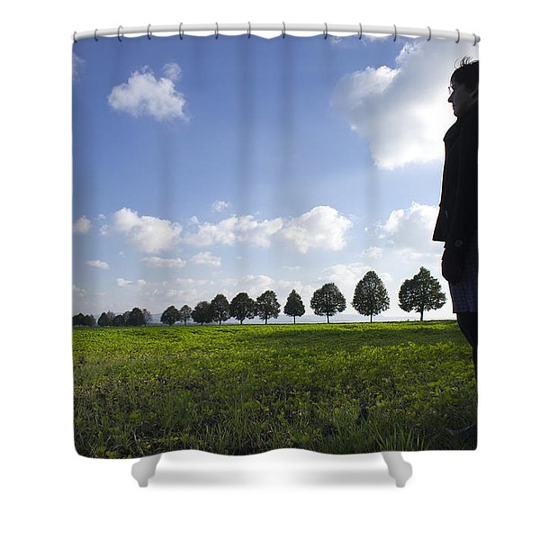 Landscape With Row Of Trees And Person Shower Curtain by Matthias Hauser