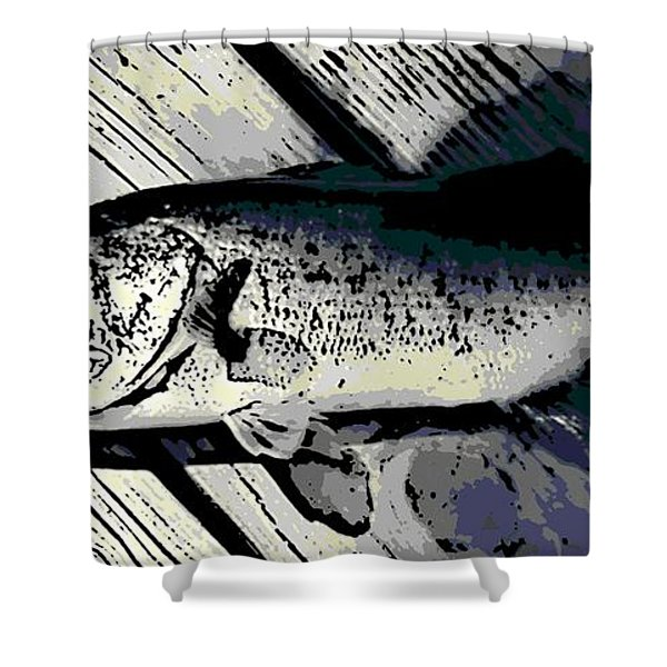 Largemouth Bass Shower Curtain by George Pedro