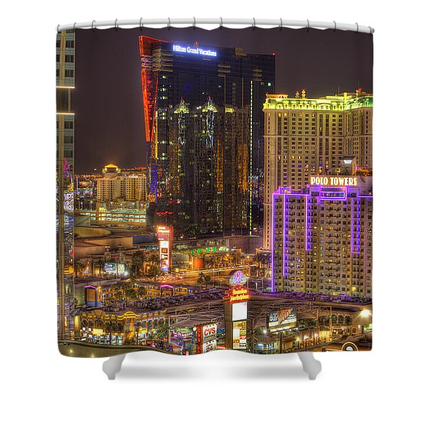 Las Vegas Nevada Shower Curtain by Nicholas  Grunas