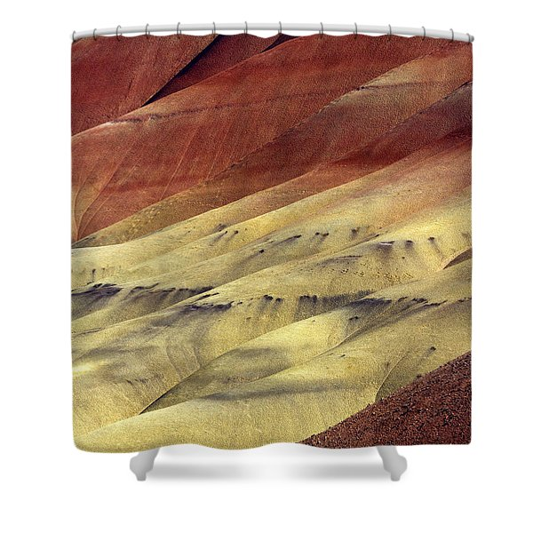Layers of Red Shower Curtain by Mike  Dawson
