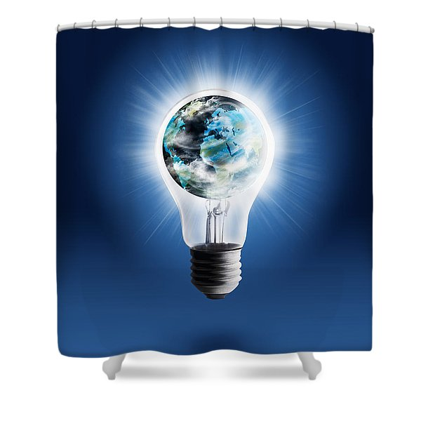 light bulb with globe Shower Curtain by Setsiri Silapasuwanchai