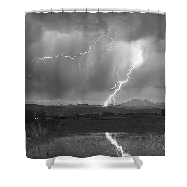 Lightning Striking Longs Peak Foothills 2BW Shower Curtain by James BO  Insogna
