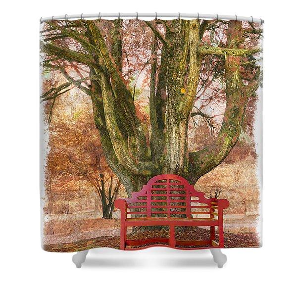 Little Red Bench Shower Curtain by Debra and Dave Vanderlaan