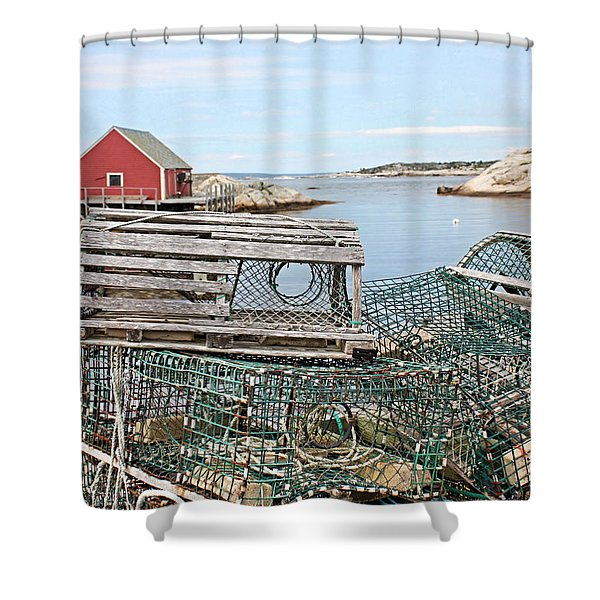 Lobster Pots Shower Curtain by Kristin Elmquist