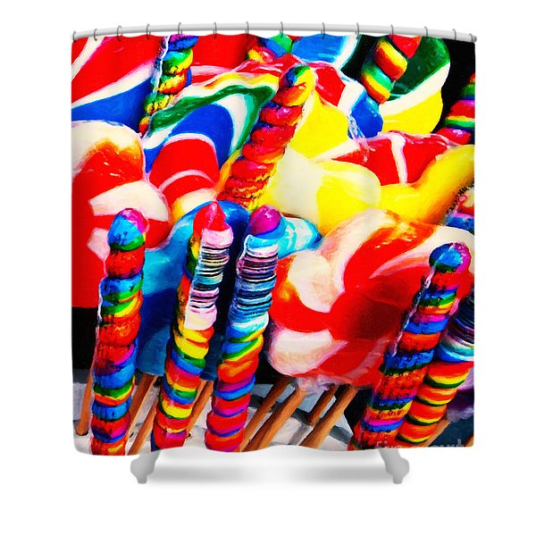 Lollipops - Painterly - Red Shower Curtain by Wingsdomain Art and Photography