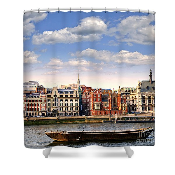 London Skyline From Thames River Shower Curtain by Elena Elisseeva