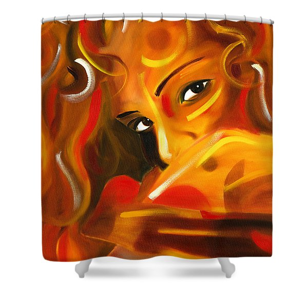 Looking Over Her Shoulder Shower Curtain by Hakon Soreide