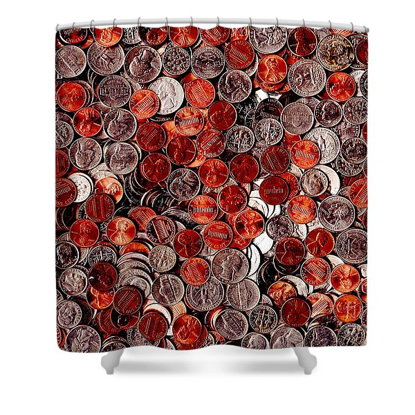 Loose Change . 9 to 12 Proportion Shower Curtain by Wingsdomain Art and Photography
