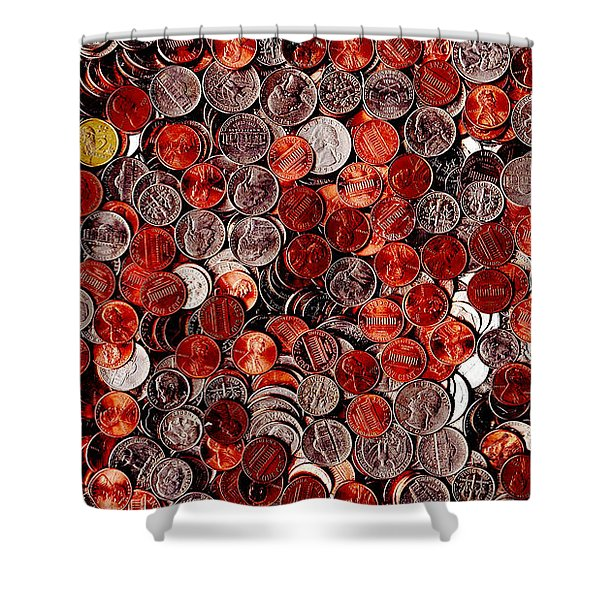 Loose Change . 9 to 16 Proportion Shower Curtain by Wingsdomain Art and Photography