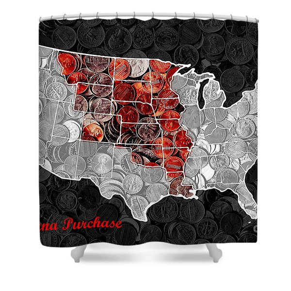 Louisiana Purchase Coin Map . v1 Shower Curtain by Wingsdomain Art and Photography