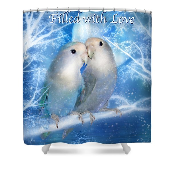 Love At Christmas Card Shower Curtain by Carol Cavalaris