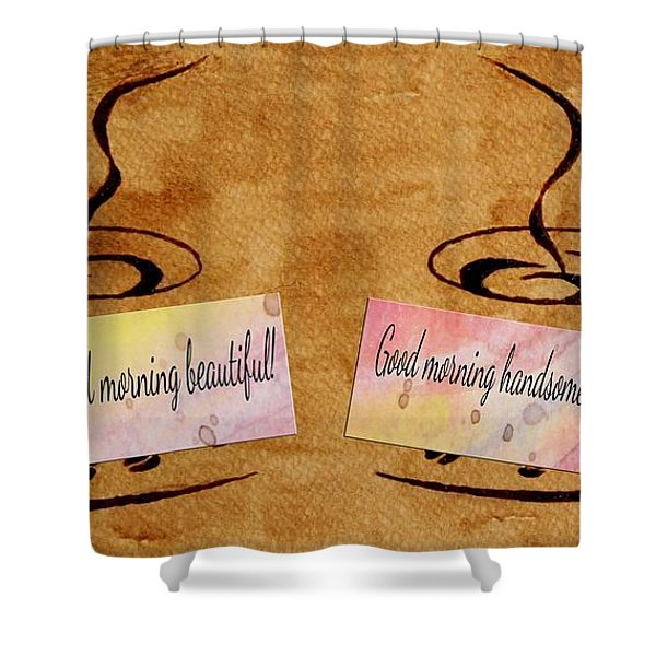 Love Morning Coffee Shower Curtain by Georgeta  Blanaru