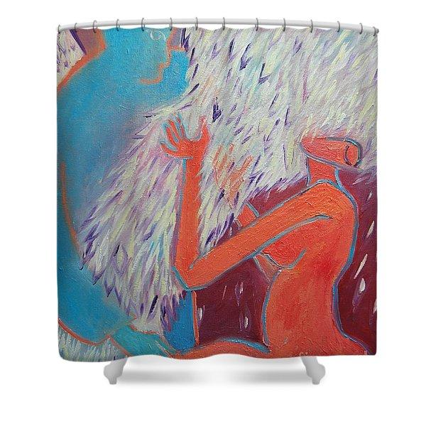 LOVING MY ANGEL Shower Curtain by ANA MARIA EDULESCU