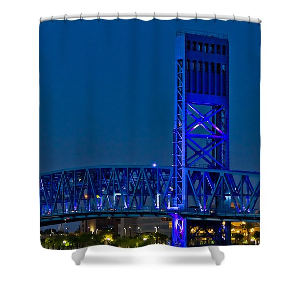 Main Street Bridge Jacksonville Shower Curtain by Debra and Dave Vanderlaan