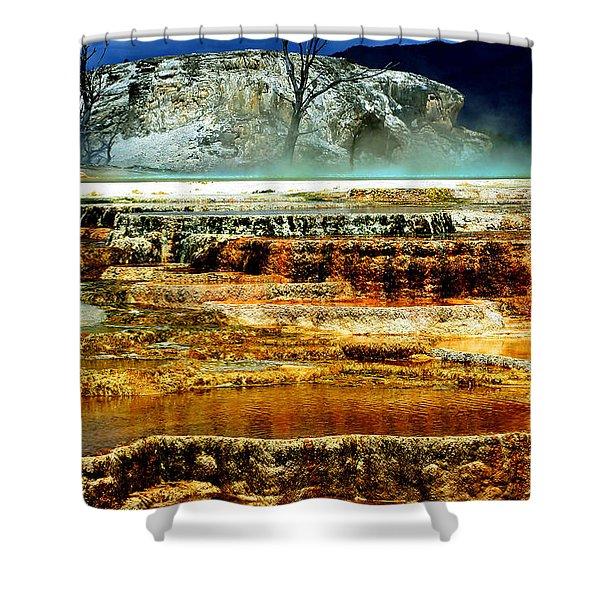 Mammoth Terrace - Yellowstone Shower Curtain by Ellen Heaverlo